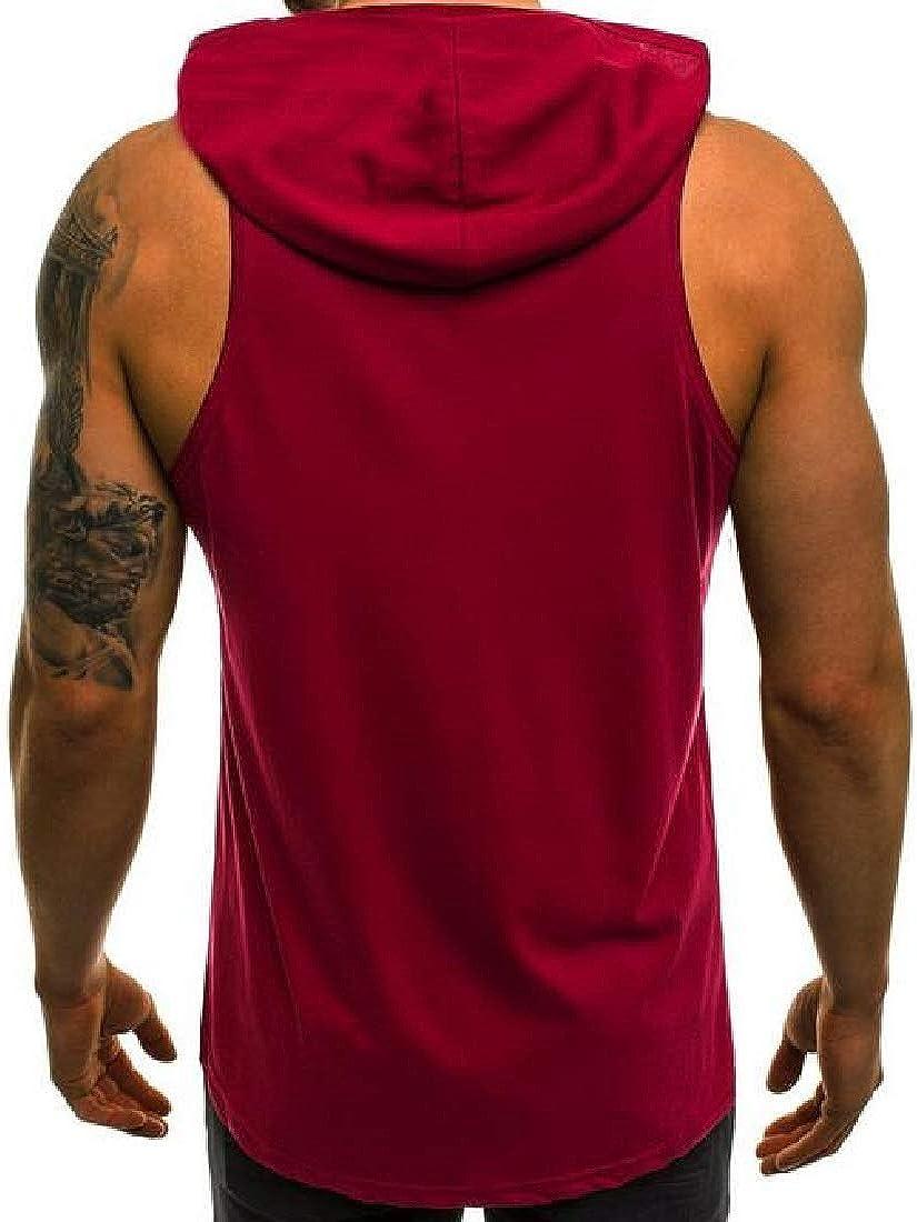 KLJR Men Bodybuilding Sleeveless Sweatshirt Hooded Solid Color Athletic Jersey T-Shirt Tank Top