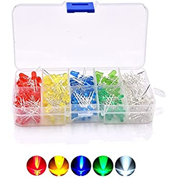 WeiKedz E15-1 3mm and 5mm Assorted LED Light Emitting Diodes 5 Colors Pack of 300