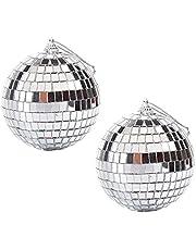 YeenGreen 2 Pack Spiegel Ballen, Zilver Glitter Bal 10 cm Glas Spiegel Glitter Bal Reflecterende Spiegel Bal Zilver Disco Ball Spiegel Disco Ball, Decoraties voor DJ Bruiloft Stage Party Kerstmis