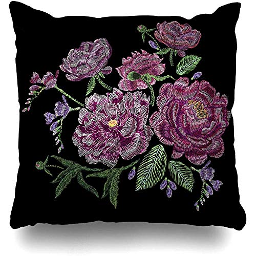 Throw Pillow Cover Line Green Embroidered Peonies Wild Garden Satin Flowers Nature Pink Bellflower Bouquet Design Plain Home Decor Pillow Case Square Size 18 x 18 Inches Zippered Pillowcase