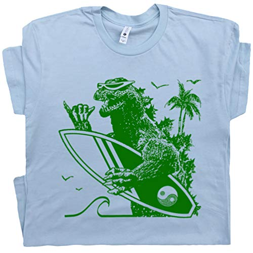 Youth M - Dinosaur Surfing T Shirt Blue Surf Surfer Tee Hawaii Godzilla California Vintage 80s Surfboard Graphic Men Women Teen
