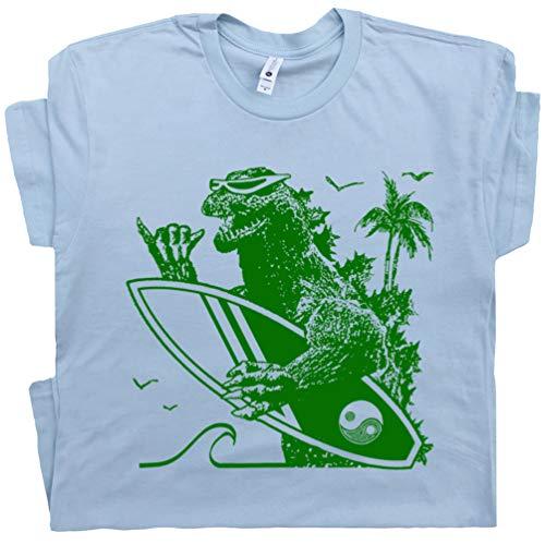 Youth L - Dinosaur Surfing T Shirt Blue Surf Surfer Tee Hawaii Godzilla California Vintage 80s Surfboard Graphic Men Women Teen