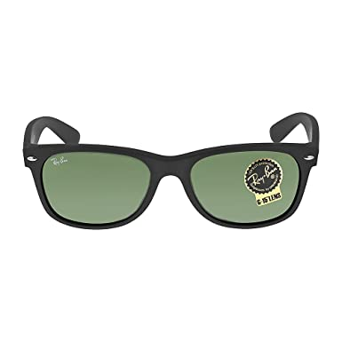 Ray-Ban Caoutchouc noir Green Classic G-15 55mm RB2132 New Wayfarer  Sunglasses 6ef49d041cce