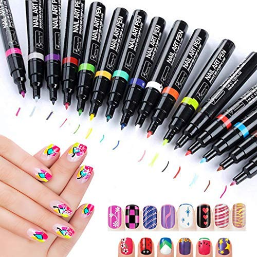 StillCool Nail Art Pens, 16 Colors Set Nail Art Pen for 3D Nail Art DIY Decoration (Nail Gel Pen)