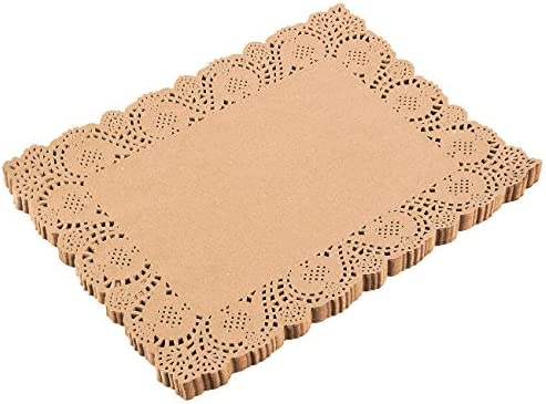 Lace Paper Doilies - 100-Pack Rectangle Decorative Paper Placemats Bulk for Cakes, Desserts, Baked Treat Display, Ideal for Weddings, Formal Event Tableware Decoration - Brown, 15.5 x 11.7 Inches