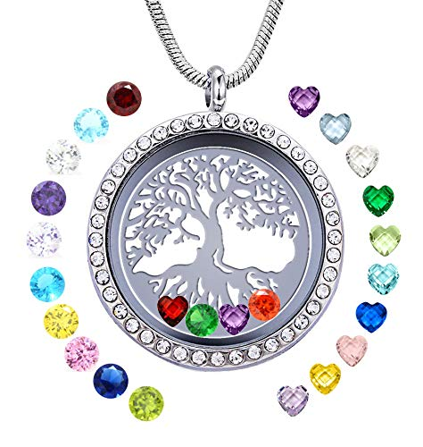 JOLIN Family Tree Life Locket Necklace Pendant with Birthstones, Silver DIY Floating Charms Memory, Gifts for Mom Mother Grandma Nana Aunt Niece Sister Women ()