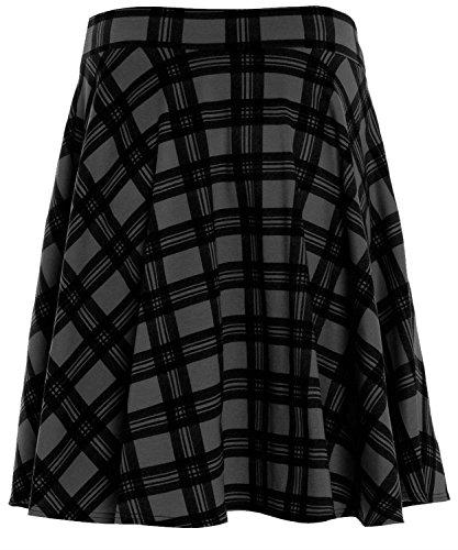Nouveaux noir de dames tartan de vase jupe patineuse 42-56 Black Tartan