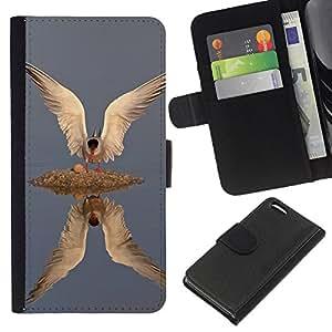 A-type (Fish Bird Gull Reflection Wings Feathers) Colorida Impresión Funda Cuero Monedero Caja Bolsa Cubierta Caja Piel Card Slots Para Apple Iphone 5C