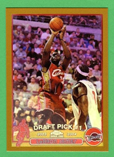- LeBron James 2003-04 Topps Chrome Basketball GOLD BORDER Rookie Reprint Card (Cavaliers) (Heat)