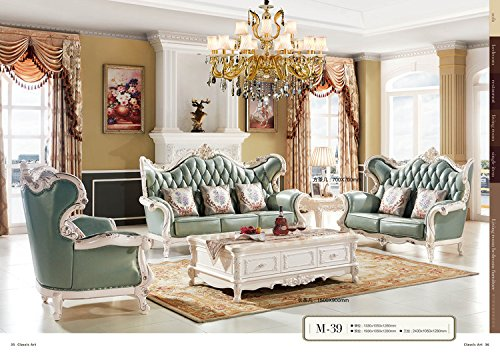 Ma Xiaoying Leather Sofas, Solid wood Frame carved by hands,Vintage Furniture, Traditional Living Room Furniture Set (Sofa, Loveseat and Chairs and all Pillows)