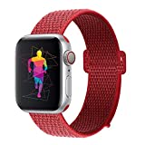 INTENY Sport Band Compatible with Apple Watch 42mm 44mm, Nylon Sport Loop, Strap Replacement for iWatch Series 4, Series 3, Series 2, Series 1 (Red, 42mm 44mm)