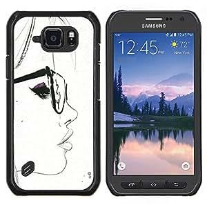 Eason Shop / Premium SLIM PC / Aliminium Casa Carcasa Funda Case Bandera Cover - Blanca del inconformista de Smart Sketch Mujer - For Samsung Galaxy S6 Active G890A