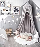 Dix-Rainbow LEDUNUS Princess Bed Canopy Mosquito Net for Kids Baby Bed, Round Dome Kids Indoor Outdoor Castle Play Tent Hanging House Decoration Reading Nook Cotton Canvas Prince Grey