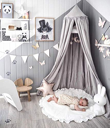 LEDUNUS Princess Bed Canopy Mosquito Net for Kids Baby Bed, Round Dome Kids Indoor Outdoor Castle Play Tent Hanging House Decoration Reading Nook Cotton Canvas Prince Grey (Regular Size)