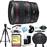 Canon EF 24mm f/1.4L II USM Lens Deluxe Accessory Bundle includes Lens, 64GB Extreme SD Memory Card, Tripod, 77mm Filter Kit, Lens Hood, Bag, Cleaning Kit, Beach Camera Cloth and More