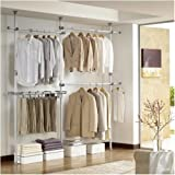 Prince Hanger Double 2tier Pants Hanger, Silver, Steel