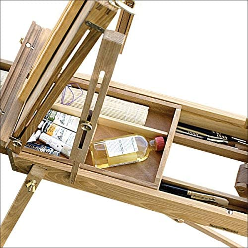 Creative Mark Cezanne Half Box French Artist Easel with Sketch Box Drawer Brass Plated Hardware Perfect for Plein Air Painting Drawing -Oiled Stained Elm Wood Canvas Carrying Clips