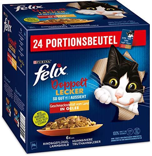 FELIX So gut wie es aussieht Doppelt Lecker Katzenfutter nass in Gelee, Sorten-Mix, 4 oder 6 Packungen