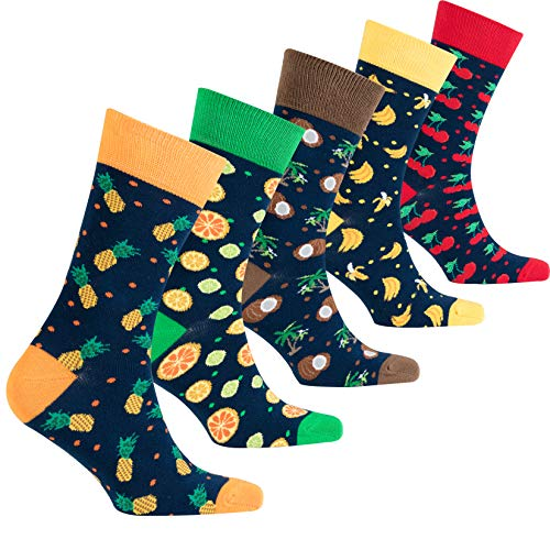 Socks n Socks-Men's 5-pair Luxury Cotton Fruits Funny Cool Socks Gift Box