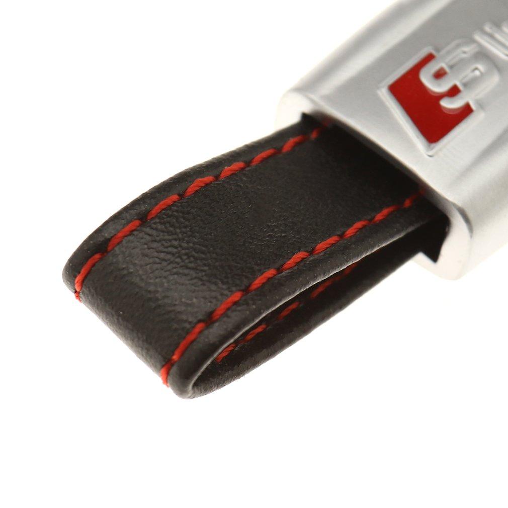 Emma S Line Piel Llavero Bolsillo Clave Cadena Acabado Cromado Rojo para Audi A1 A3 A4 A5
