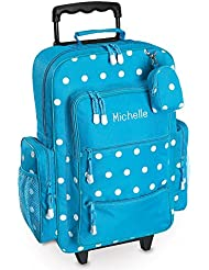 Turquoise Polka-Dot Personalized Kids Rolling Luggage - 5 x12x16 H, Travel Bag