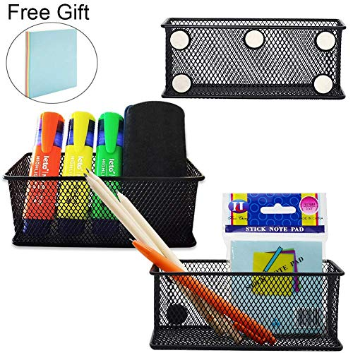 Magnetic Pencil Holder, WEST BAY 3Pcs Magnetic Baskets with Sticky Notes Refrigerator Locker Accessories Metal Mesh Desk Storage Shelf Extra Strong Magnets for School Kitchen Office Whiteboard Fridge