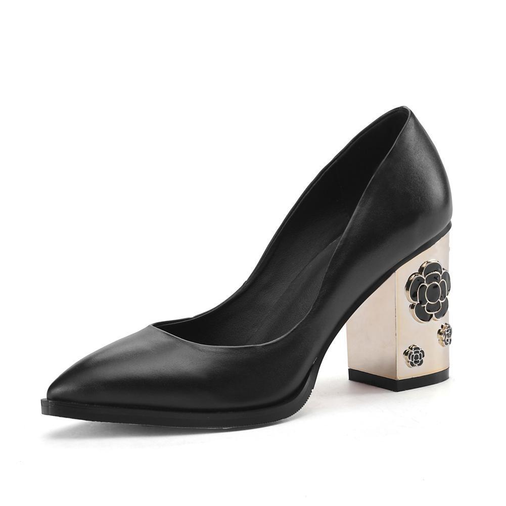 Damen Schlüpfen Leder Leder Leder Single Gericht Schuhe Metall Block Hoch Hacke Spitz Zehe Schwarz Grau Pumps Arbeit Geschäft Werdegang , schwarz , EUR 37  UK 4.5-5 f243d7