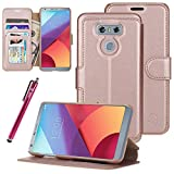 Cheap LG G6 Case, LG G6 Plus Case, Style4U Slim Fit Premium Durable Leather Protective Wallet Case with Card&Cash Slots, Flip Cover, Secure Magnetic Closure & Kickstand for LG G6 with 1 Stylus [Rose Gold]