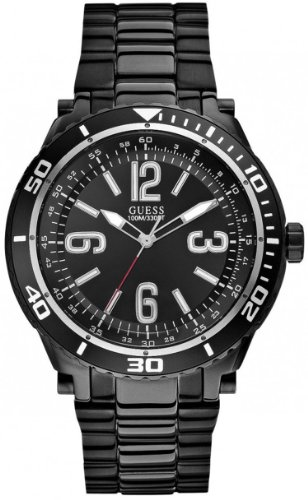 GUESS Men's U0043G2 Black Ionic-Plated Racing Sport Watch