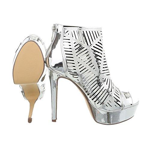 Ital-Design High Heel Sandaletten Damenschuhe Pfennig-/Stilettoabsatz Heels Reißverschluss Sandalen & Silber K1D9848-8