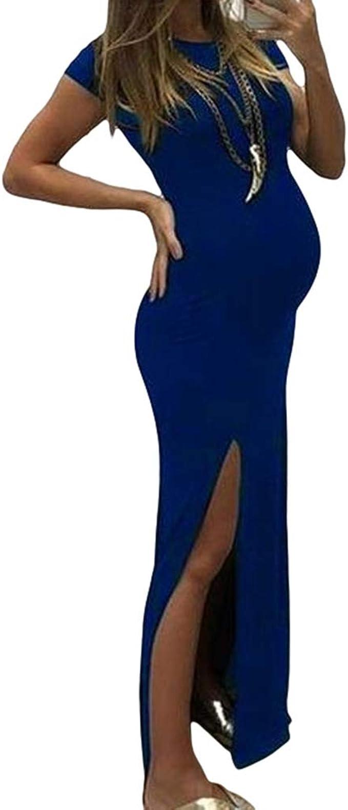 Mode Frauen Solide Kurzarm Bodycon Open Fork Schwangerschaft Mutterschaft Kleid