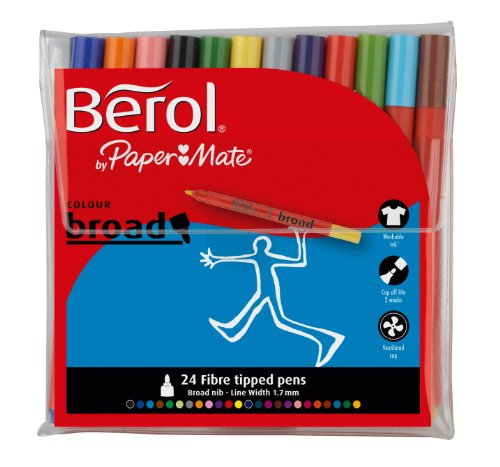 Berol Colour Broad Fibre Tipped Pen Pack of 24