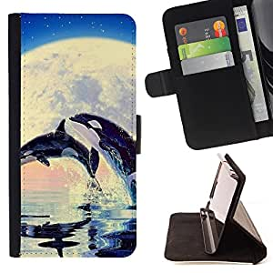 Super Marley Shop - Leather Foilo Wallet Cover Case with Magnetic Closure FOR Samsung Galaxy S6 Edge G9250 G925F- Dolphins sea Moon
