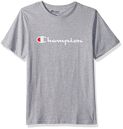 Champion Big Boys Heritage Short Sleeve Tee, Oxford Heather Script, -