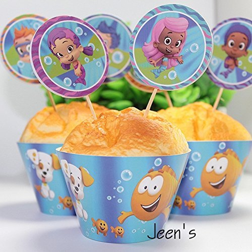 12 set cupcake wrappers and toppers Bubble Guppies ,party decoration,kids -