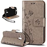 Galaxy S Duos Case,Galaxy S Duos 2 Case,NSSTAR Butterfly Flower PU Leather Fold Wallet Pouch Wallet Flip Stand Credit Card ID Holders Case Cover for Samsung Galaxy S Duos S7562 / S Duos 2 S7582,Gray
