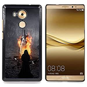 /Skull Market/ - Witch Fire Magic Dark Black For Huawei Mate 8 - Mano cubierta de la caja pintada de encargo de lujo -