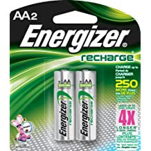 Energizer Rechargeable AA Batteries, 2-pack