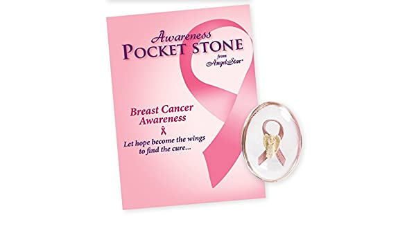 Breast Cancer Awareness PINK RIBBON Worry Pocket Stone w//Gift Envelope