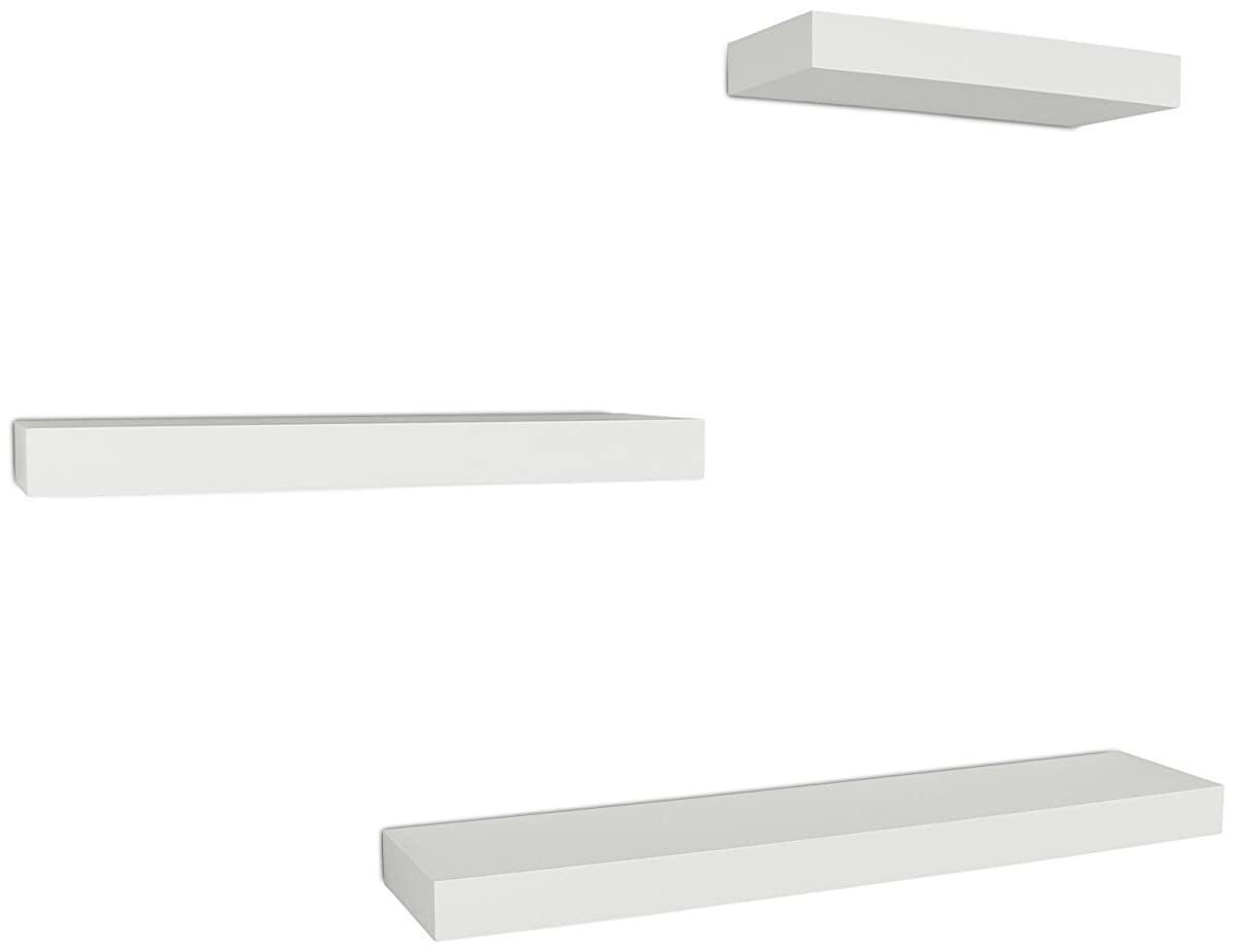 "Ballucci Block Floating Wall Ledge, 12"", 16"", 24"", Set of 3, White"