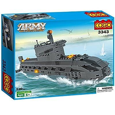 COGO Army Navy Nuclear Submarine Toy Military Warship Model Kit U Type Boat Building Blocks Sub Playset Kids Gift for Boys 520 Bricks CG3343