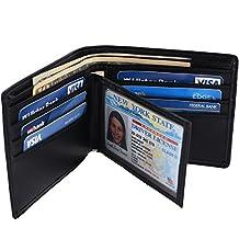 Hopsooken RFID Leather Bifold Wallets Women Men Flipout Slim ID Wallet Trifold (Black (MID))