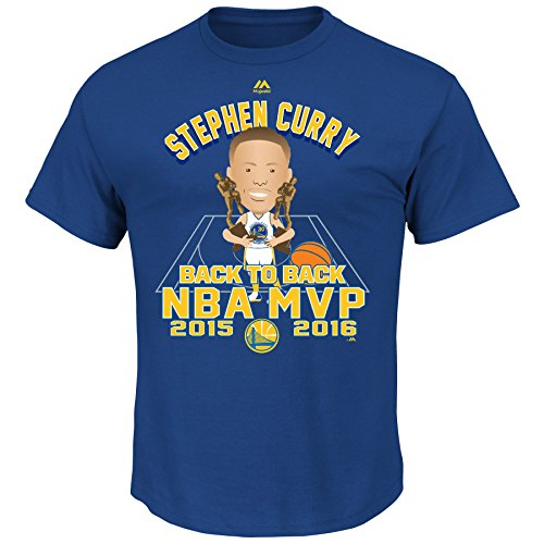 Stephen Curry Golden State Warriors Curry Back To Back MVP T-Shirt (Royal) XL (Tagless Cat Collar)