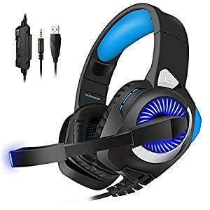 Xbox One Gaming Headset, Headphones for PS4, Xbox One, PC, Nintendo Switch, with Microphone, LED Lights, Noise Cancelling, Volume Control for PUBG, Halo 5 (Blue)