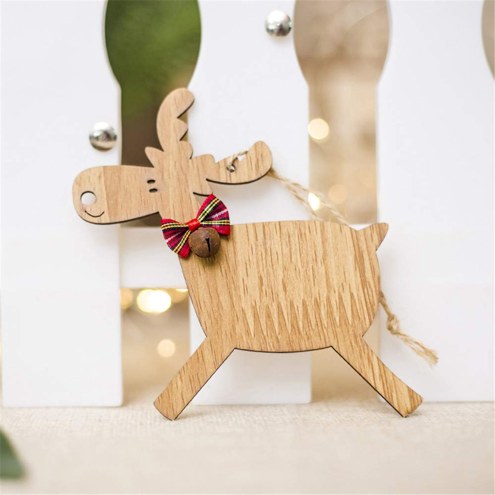 Yaida 1PCS Christmas Deer Wooden Xmas Tree Pendants DIY Ornaments for Christmas Party (A)