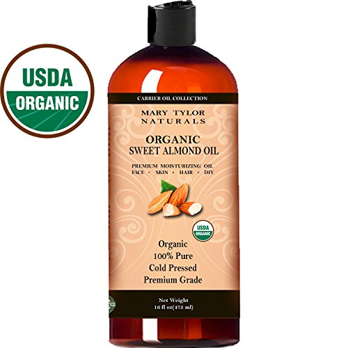 Mary Tylor Naturals Organic Sweet Almond Oil 16 oz, USDA Certified, Cold Pressed, Premium Grade, 100% Pure, Amazing Moisturizer for Skin Best Carrier oil for all Your DIY Projects Great as Baby Oil