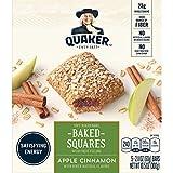 Quaker Baked Squares, Soft Baked Bars, Apple Cinnamon, 5 Bars (Pack of 8)