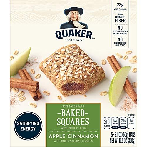 Quaker Breakfast Squares, Soft Baked Bars, Apple Cinnamon, 5 Bars (Pack of 8)