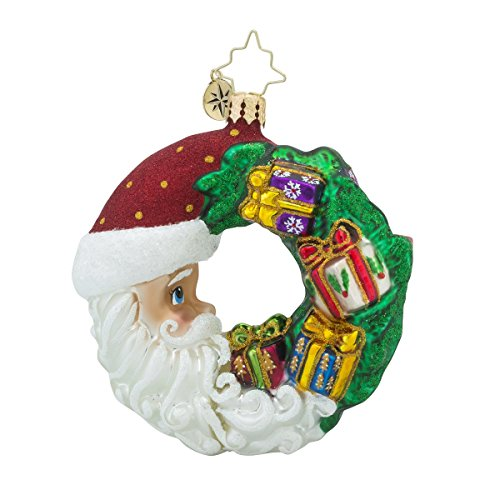 Christopher Radko Crescent Christmas Presents Little Gem Wreath Christmas Ornament - Radko Presents