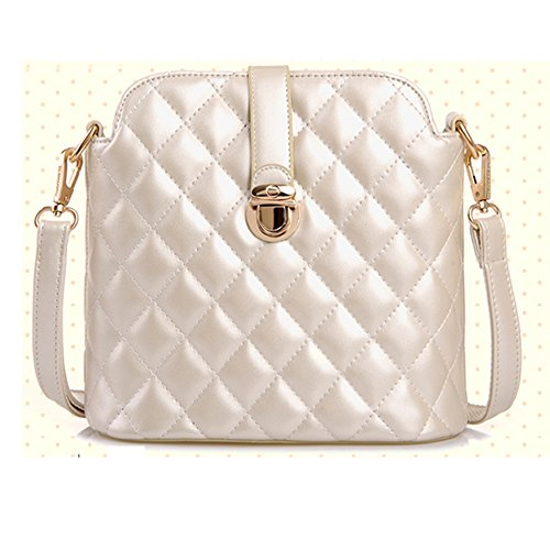Eyedow Kingdom Fashion Classic Elegant Women Girl Bag PU Leather Black Diamond Rhombus Pattern Plaid Quilted Handbag Messenger Shoulder Bag